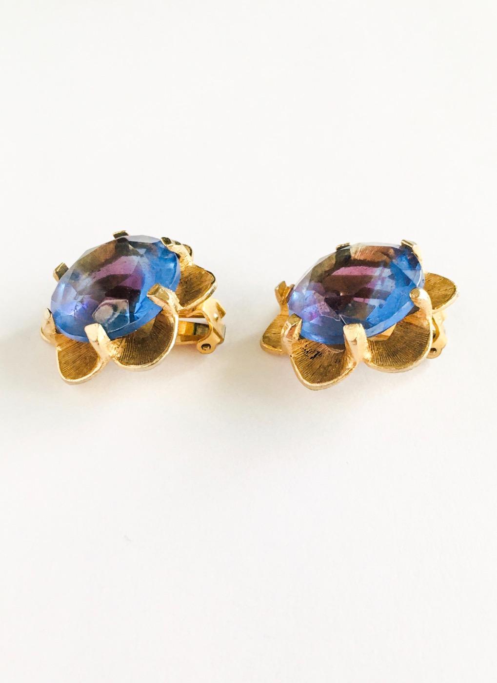 vintage gold + purple faceted glass flower earrings