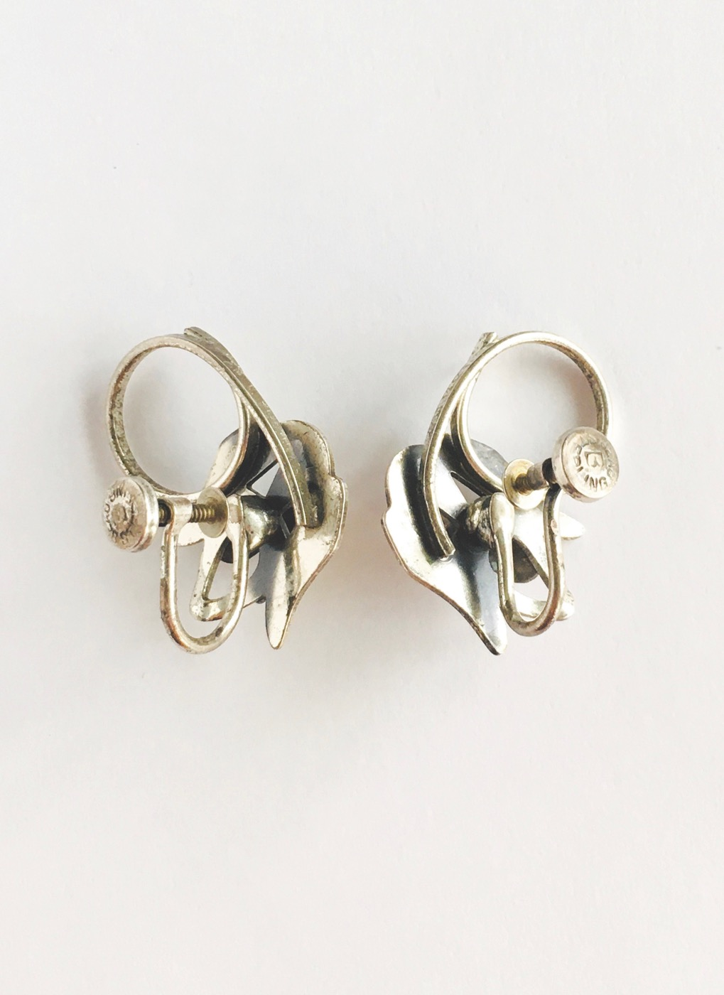 vintage sterling silver Beau dog earrings