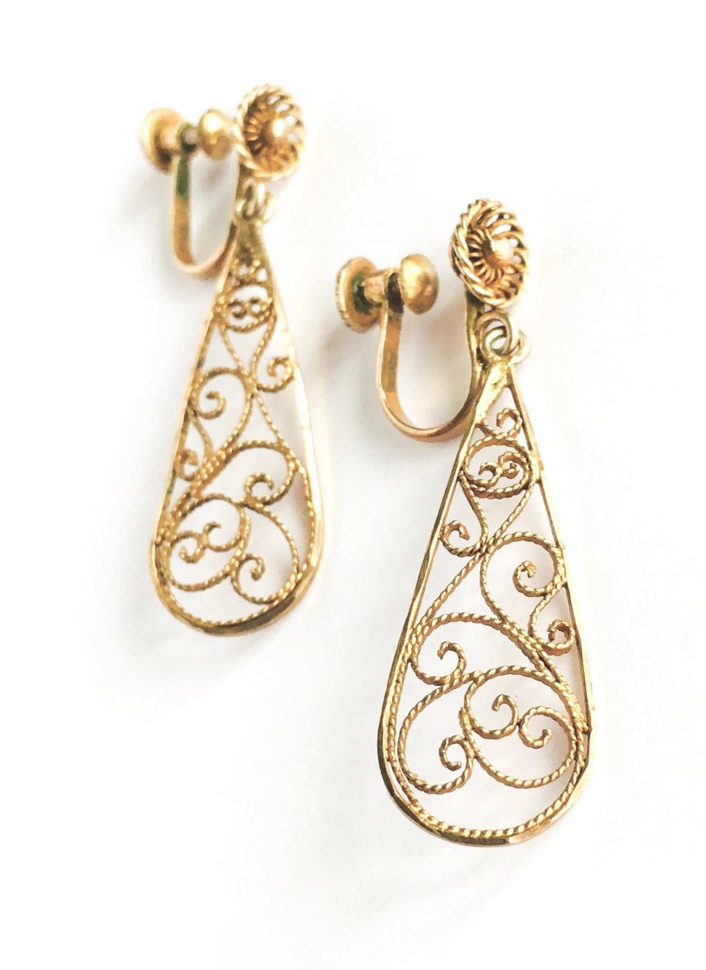 vintage sterling gold filigree drop earrings