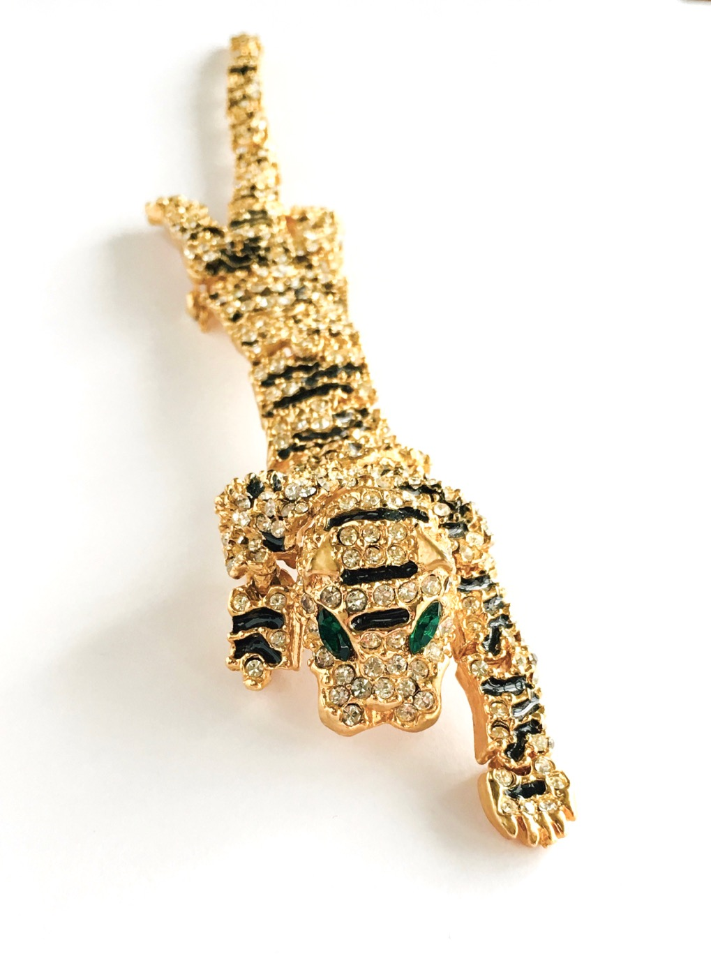 80s rhinestone articulated tiger shoulder pin