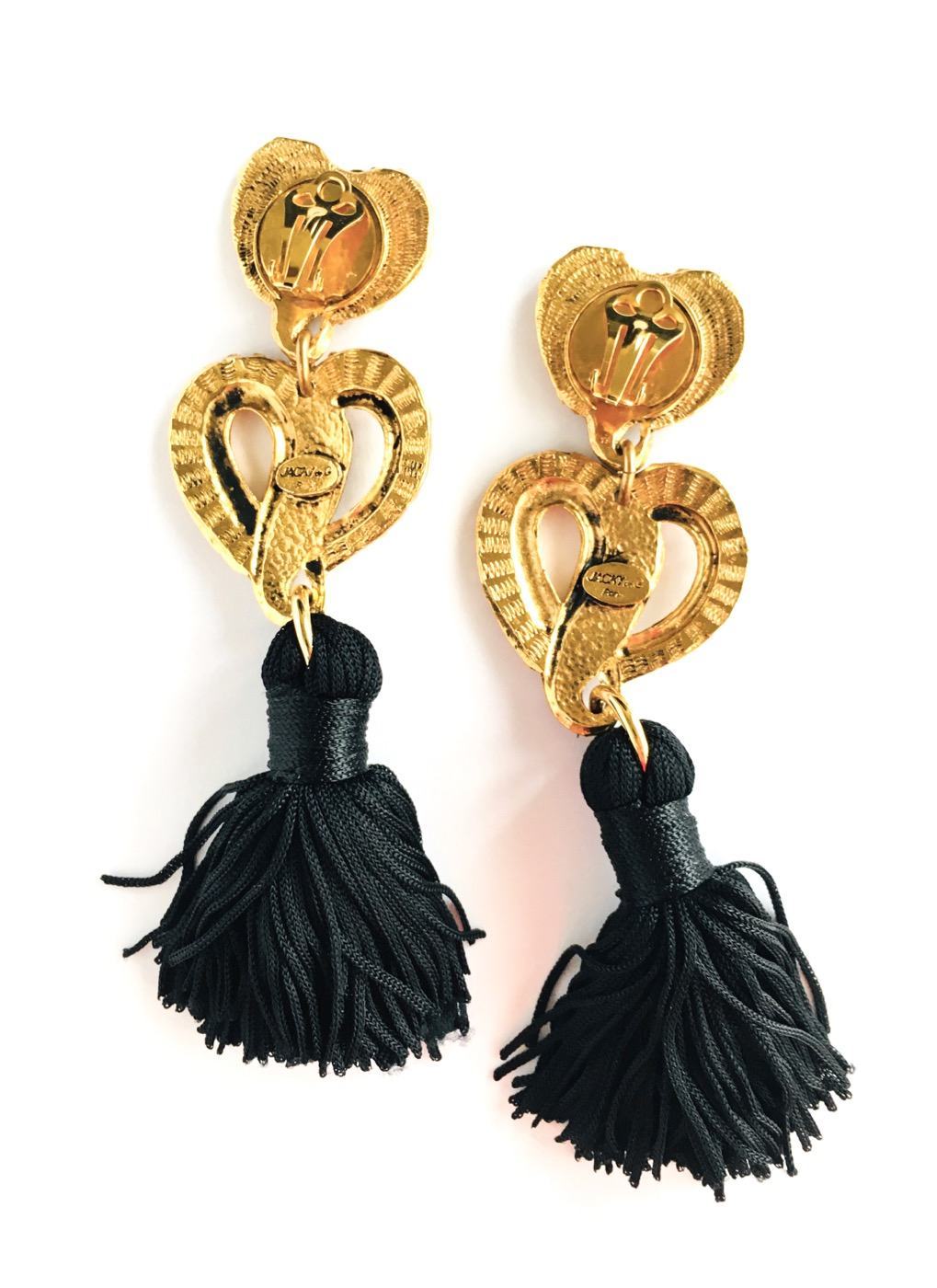 80s Jacky de G Paris gold + black tassel heart earrings