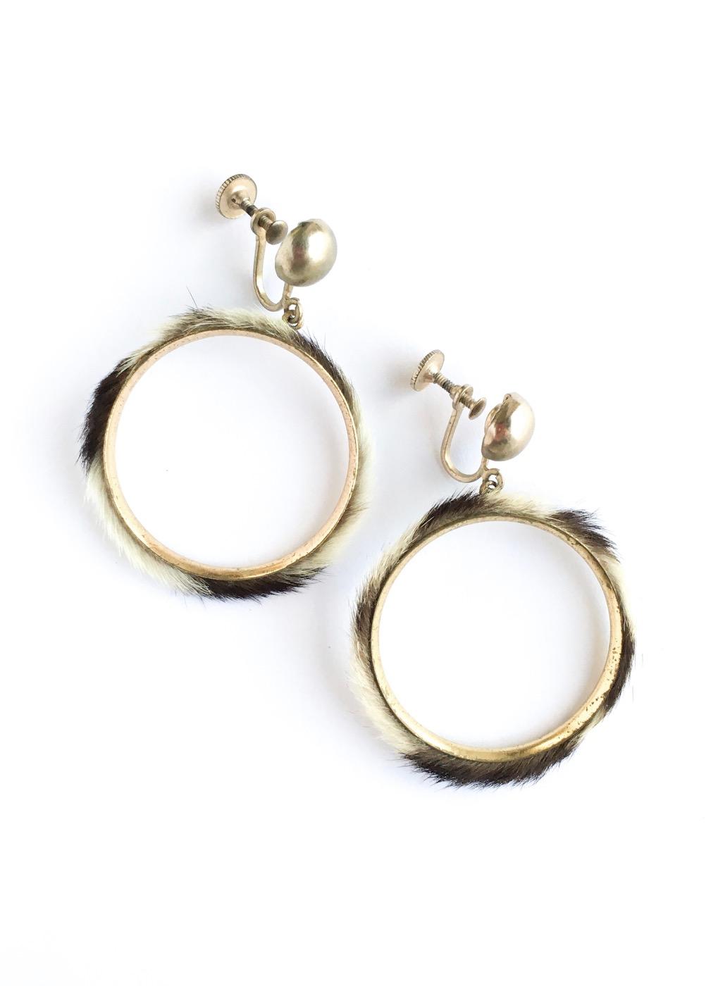 1950s 60s fur hoop earring