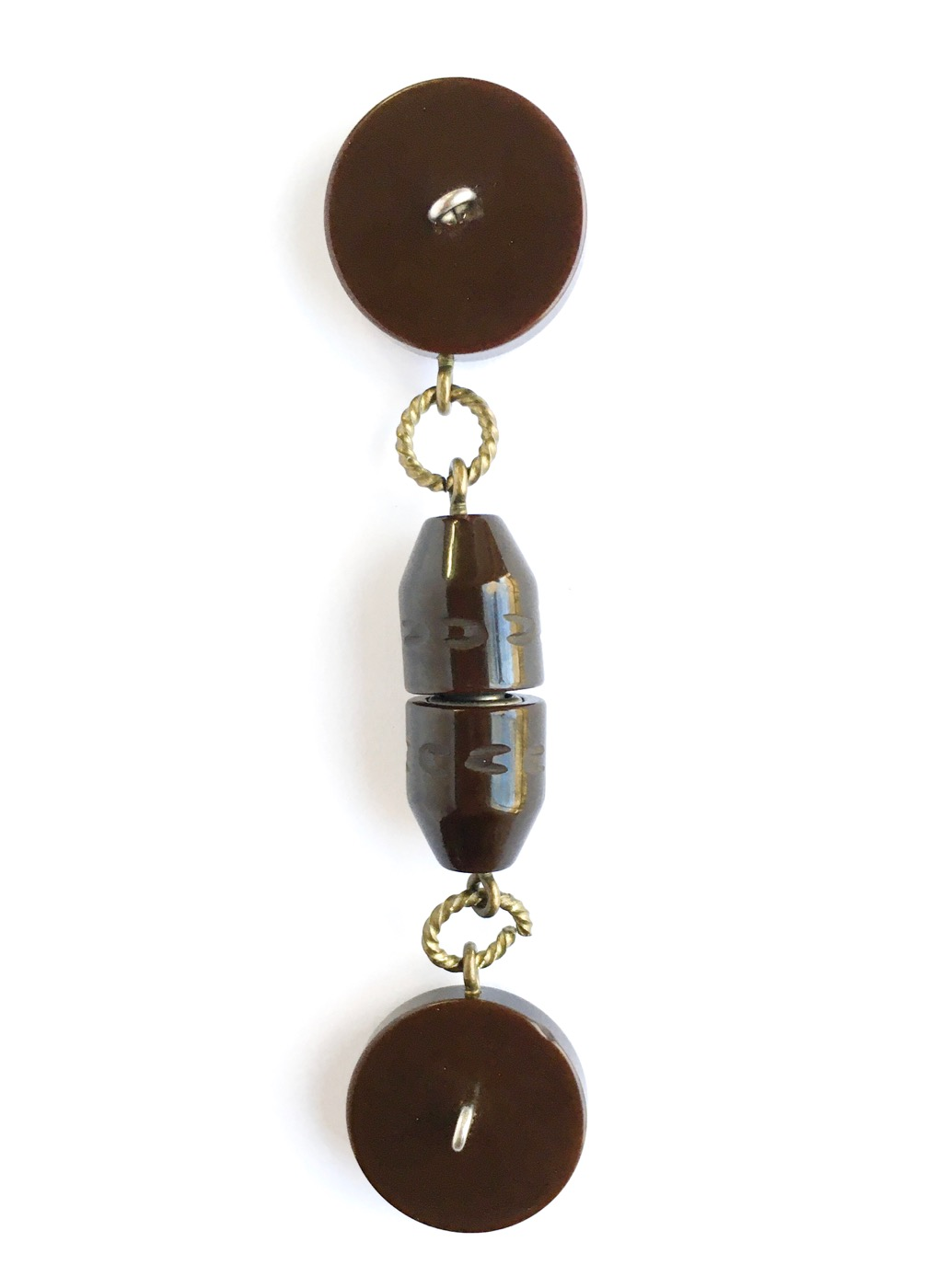 antique carved brown Bakelite cloak clasp