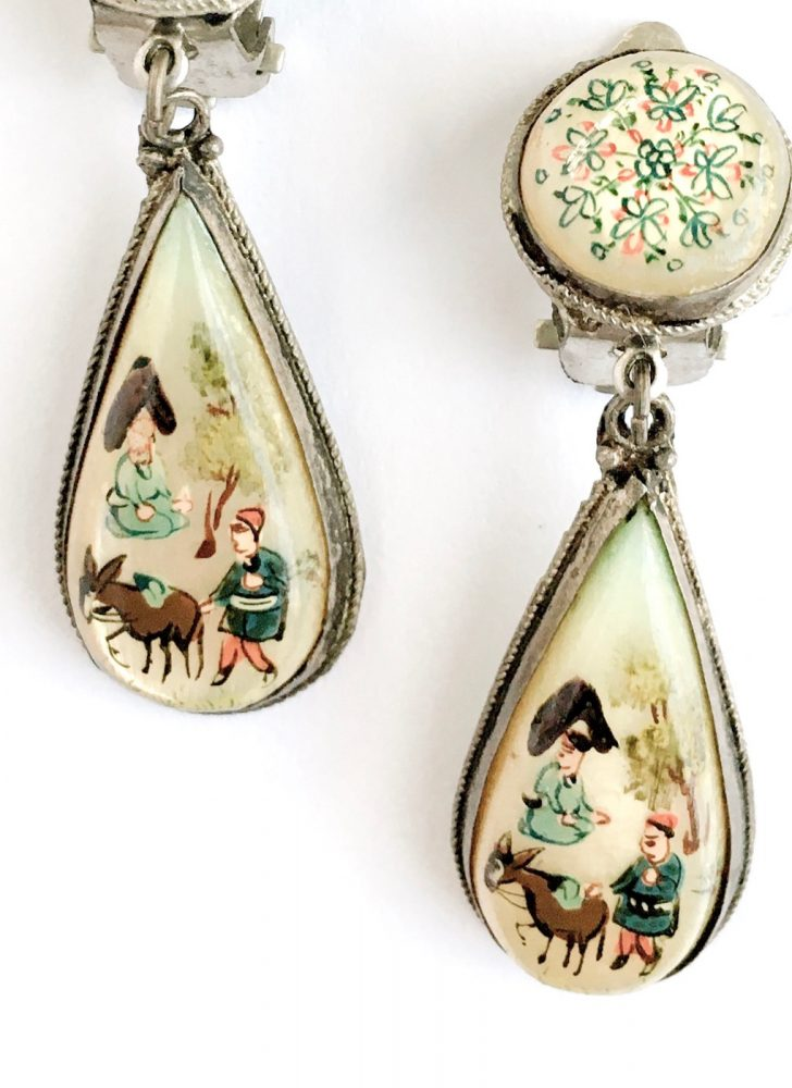 antique hand painted MOP drop earrings