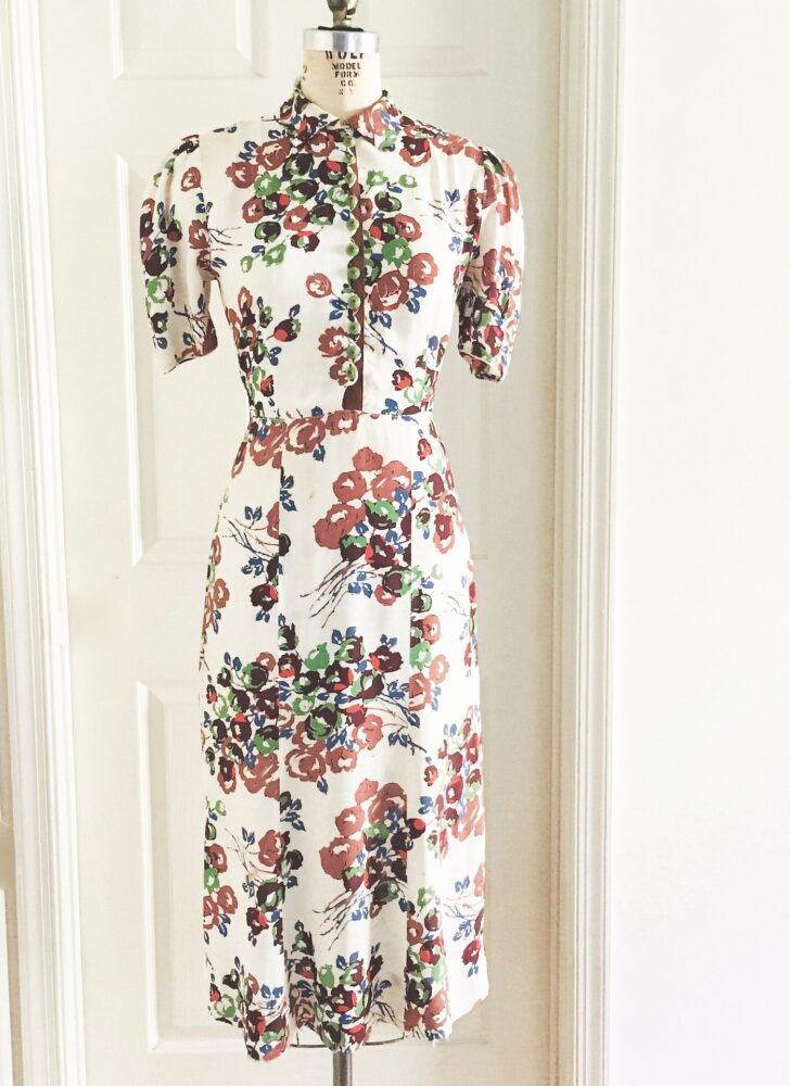 1930s floral print rayon dress Hollywood Creations by Justine (fair)