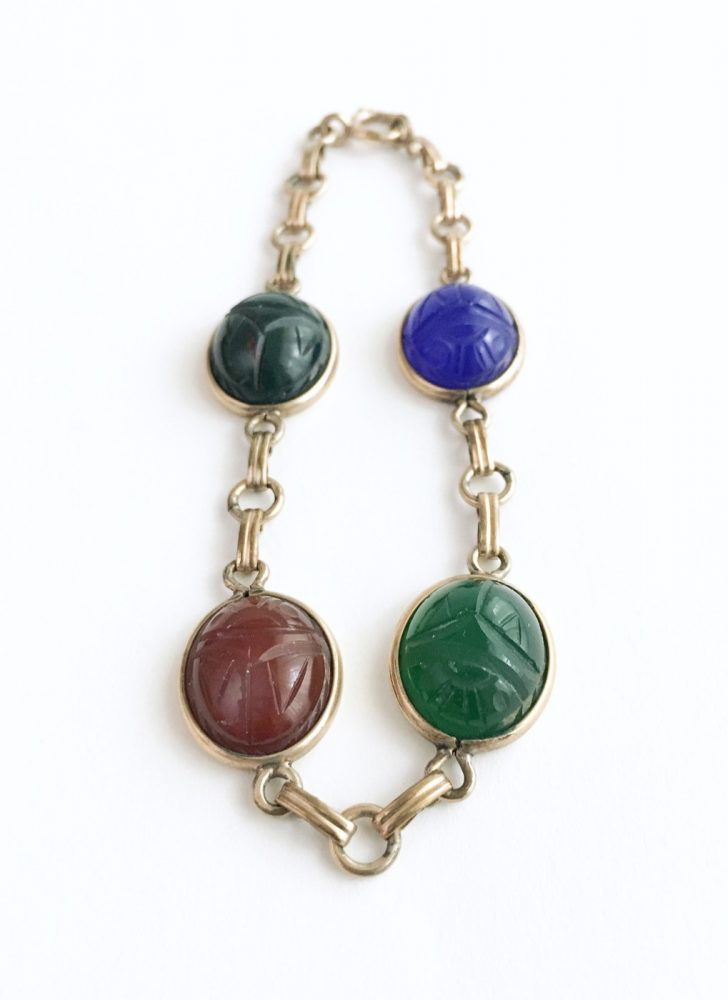 1950s semiprecious stone scarab link bracelet