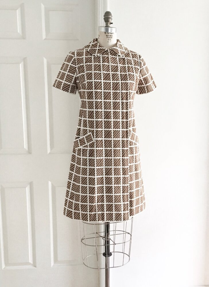 1960s Bill Blass for Maurice Rentner brown + white cotton mod op art dress