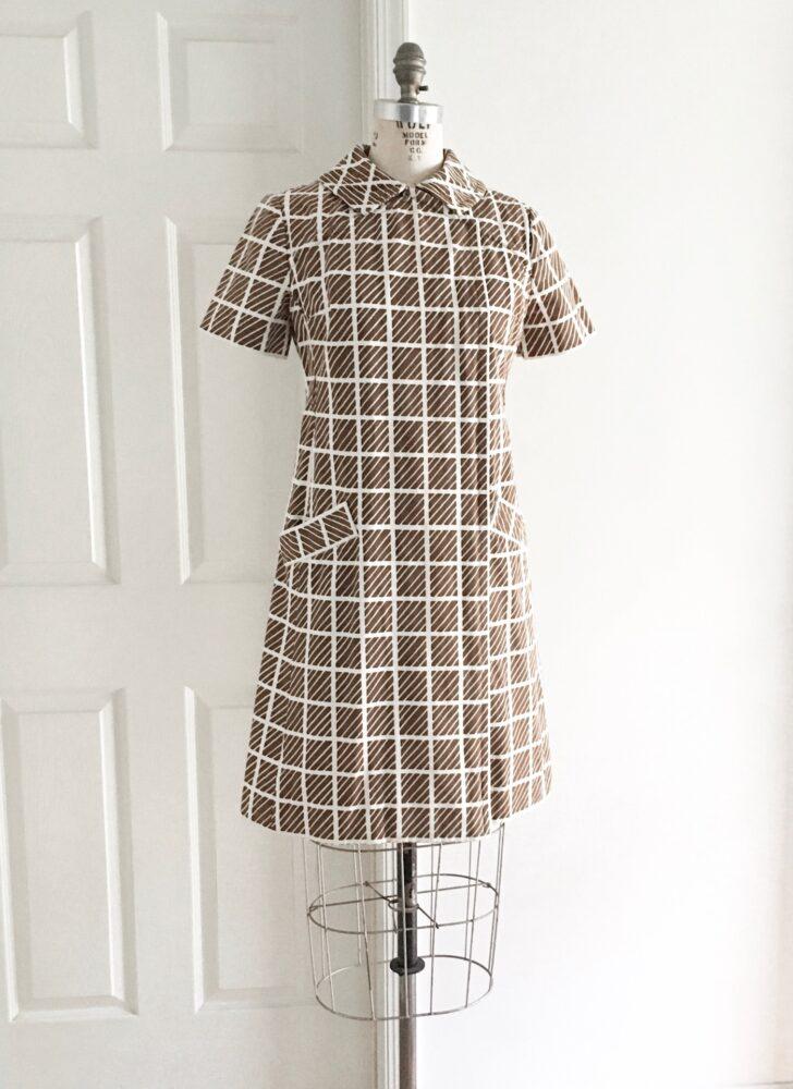 1960s Bill Blass for Maurice Rentner brown + white cotton mod op art dress