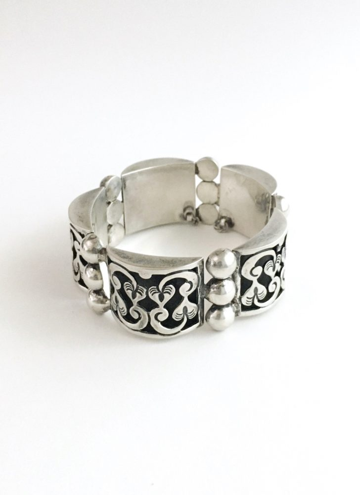 1960s Mexican silver Taxco TPN showdowbox linked cuff bracelet
