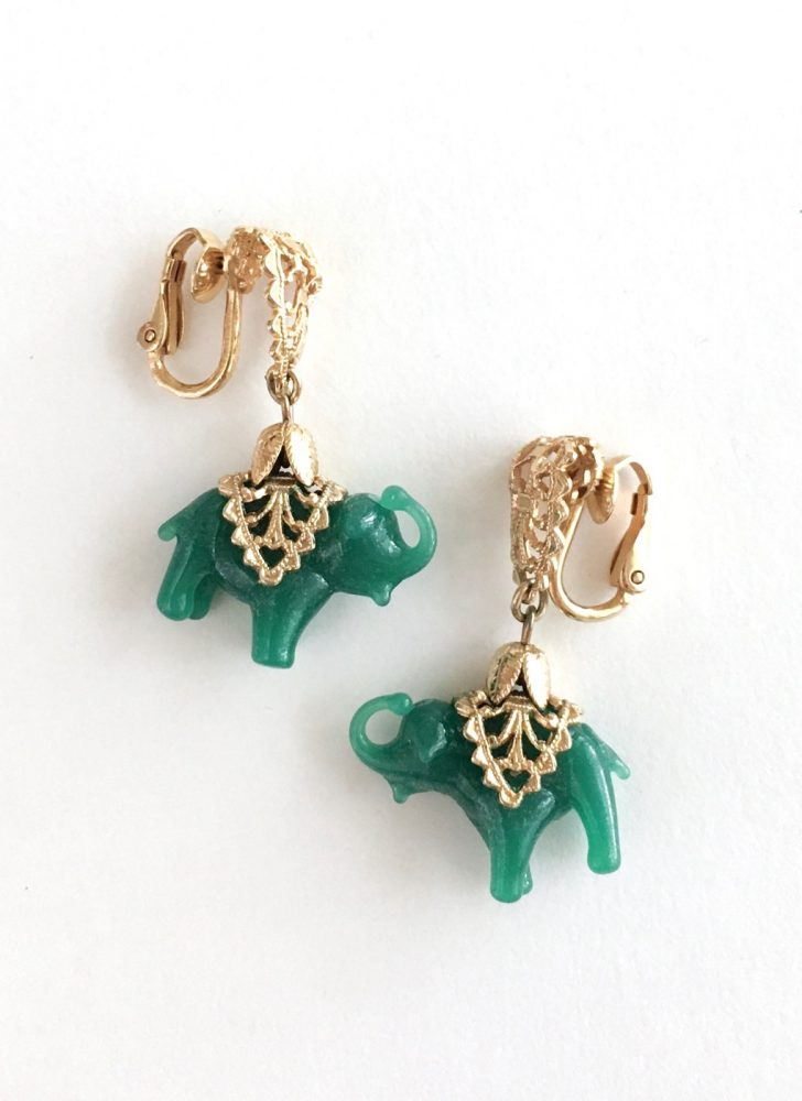 1960s Napier green glass elephant earrings
