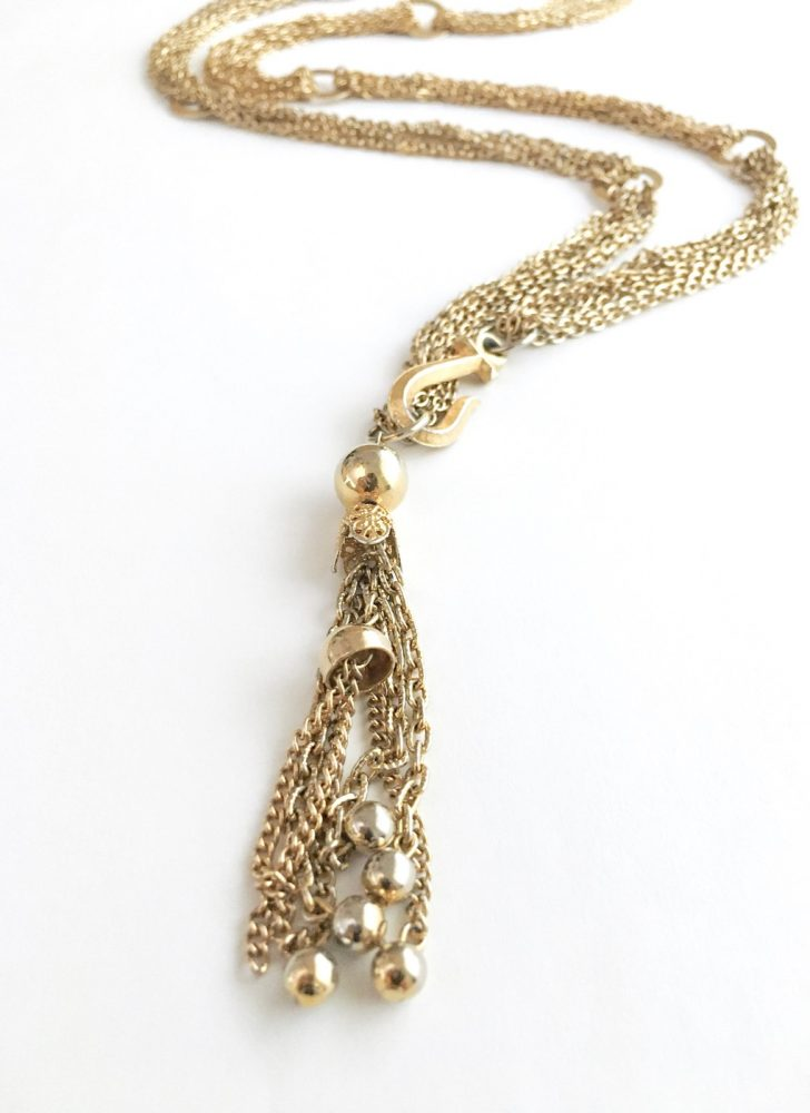 1960s gold-tone chains + hoops tassel hook necklace