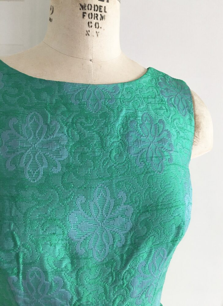1960s green blue silky brocade Peck + Peck cocktail dress