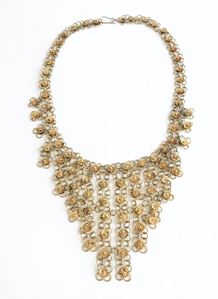 1970s brass flower bib necklace India