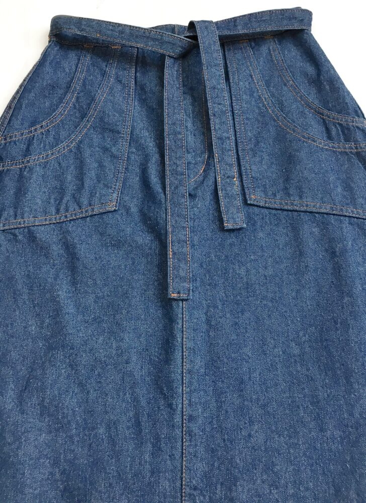 1970s button fly tie waist jeans skirt with stacked pockets Japan