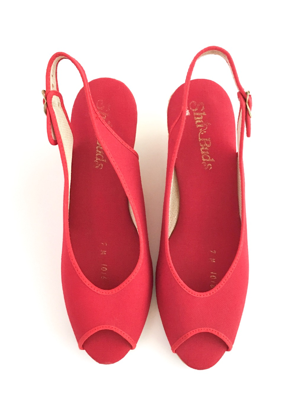 1970s red espadrille shoes sandals with woven straw wedges