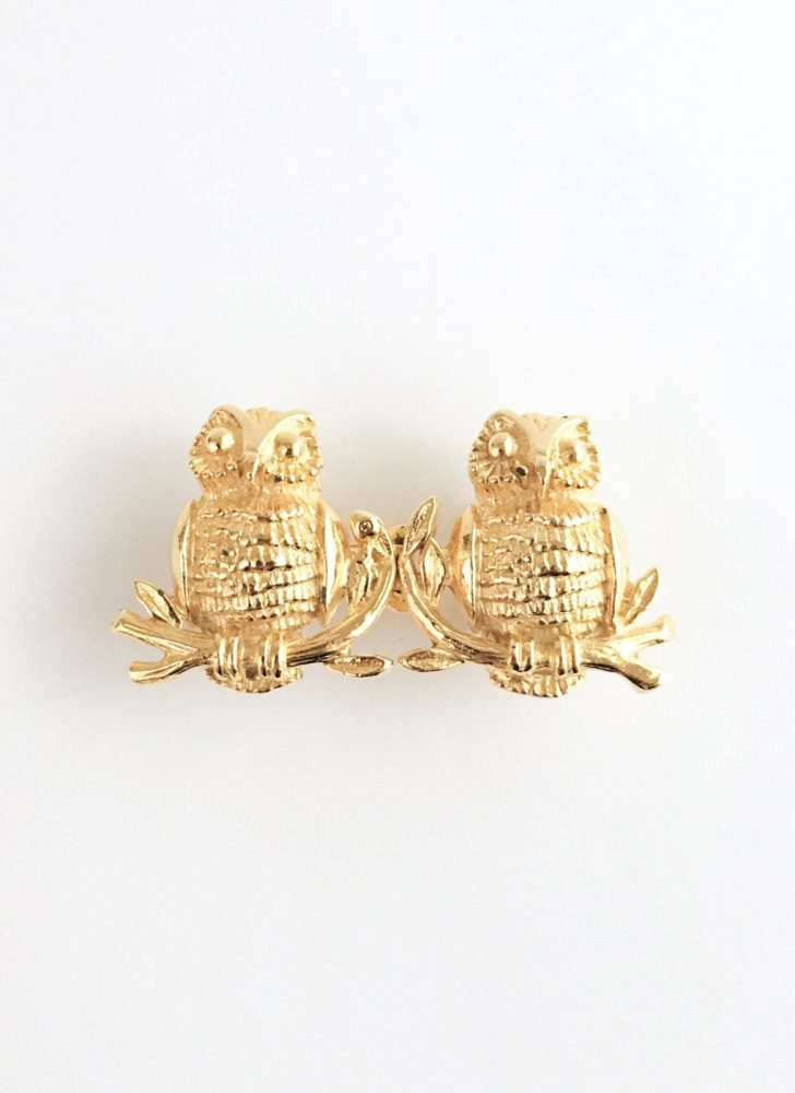 1975 Mimi di N gold owls belt buckle