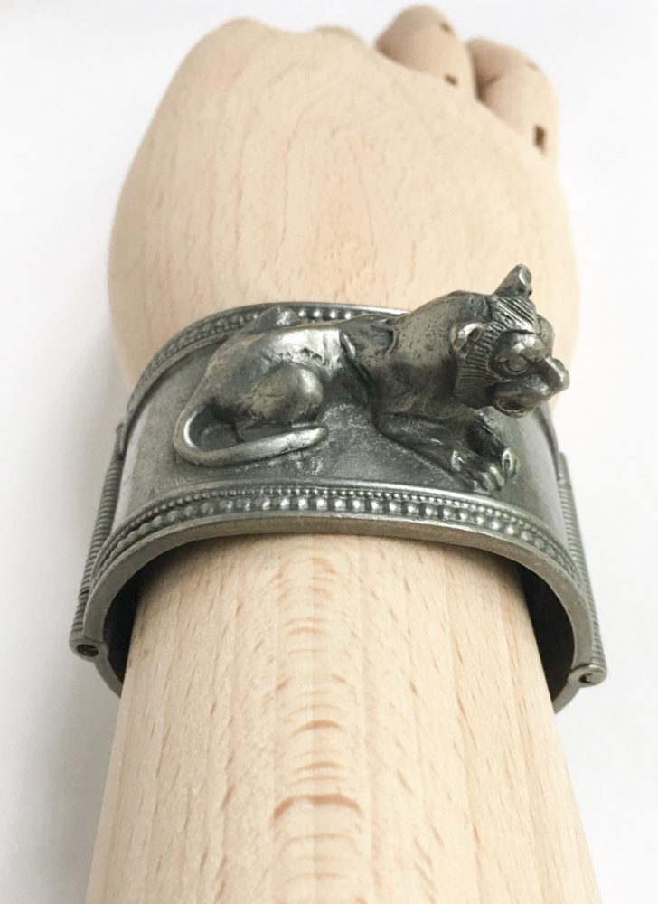 1976 MMA King Tutankhamun exhibit pewter lion cuff bracelet