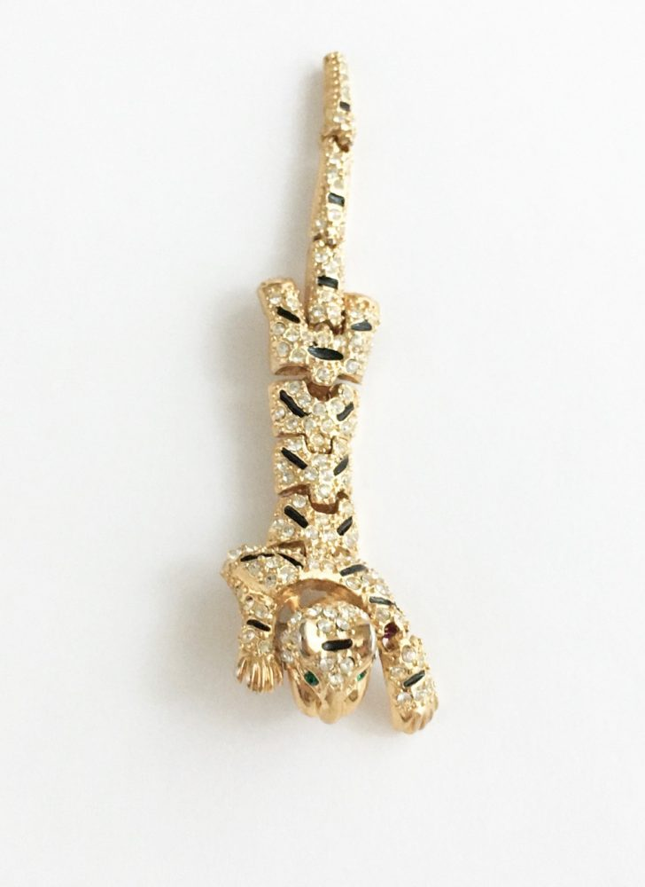 1980s rhinestone encrusted articulated tiger shoulder pin