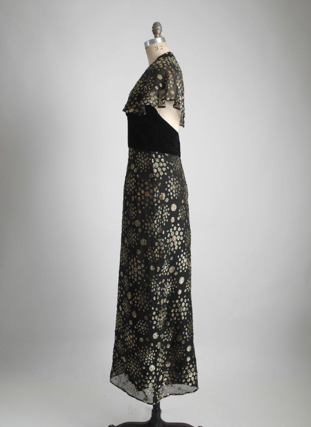 1970s black + gold burnout velvet gown