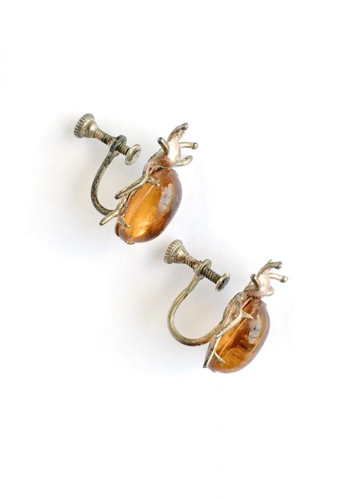 antique 1920s 30s amber glass copper plate bug earrings
