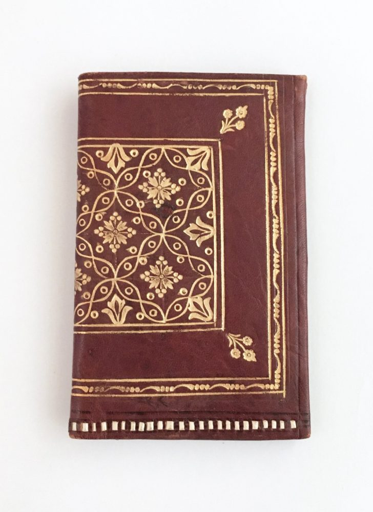 antique Florentine brown leather wallet embossed with gold