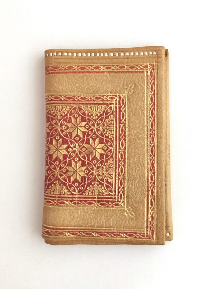 antique Florentine red and yellow leather gold embossed wallet