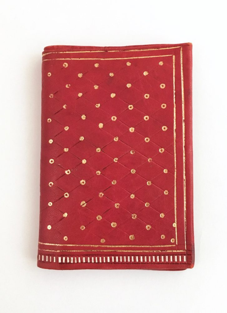 antique red leather Florentine wallet with gold embossing