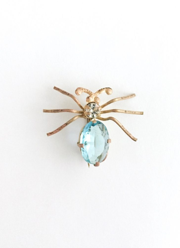 antique topaz blue Czech glass brass spider pin brooch