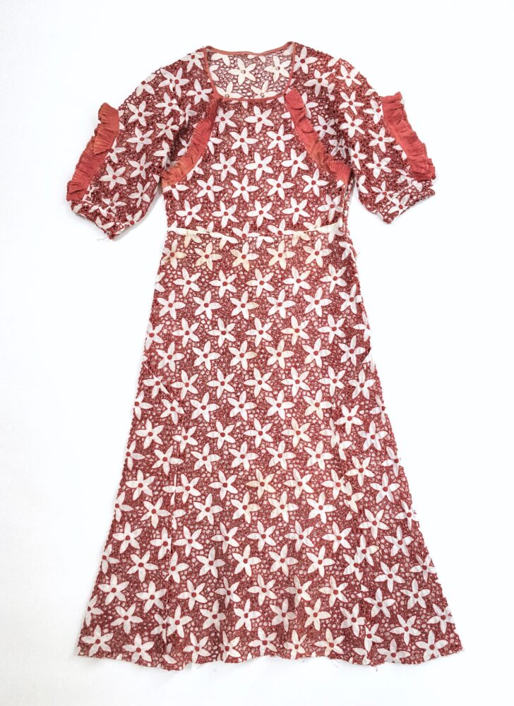one-of-a-kind 1930s red + white cutout flower cotton dress with accordion pleating (discoloration)