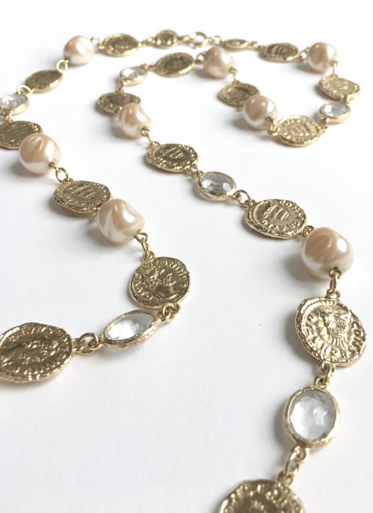 pearls, gold coins and looking glass long necklace Chanel knockoff