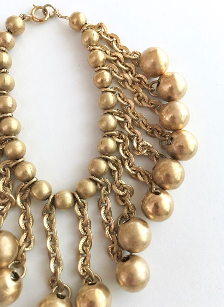 vintage 1940s 50s brass chain + ball charm bracelet