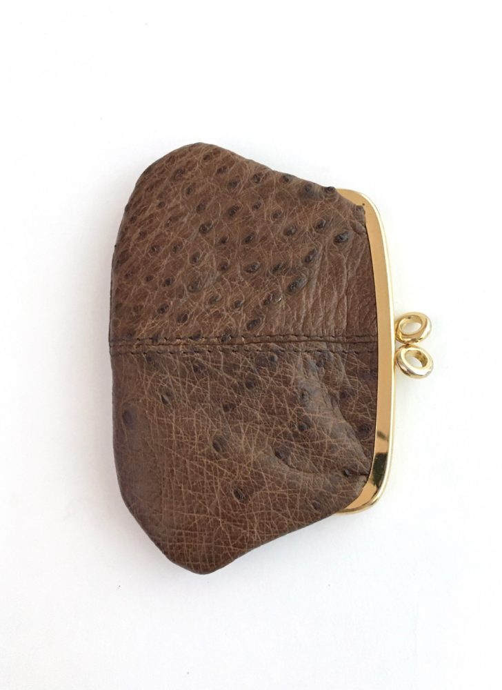 vintage 1950s 60s brown ostrich leather kiss lock coin purse