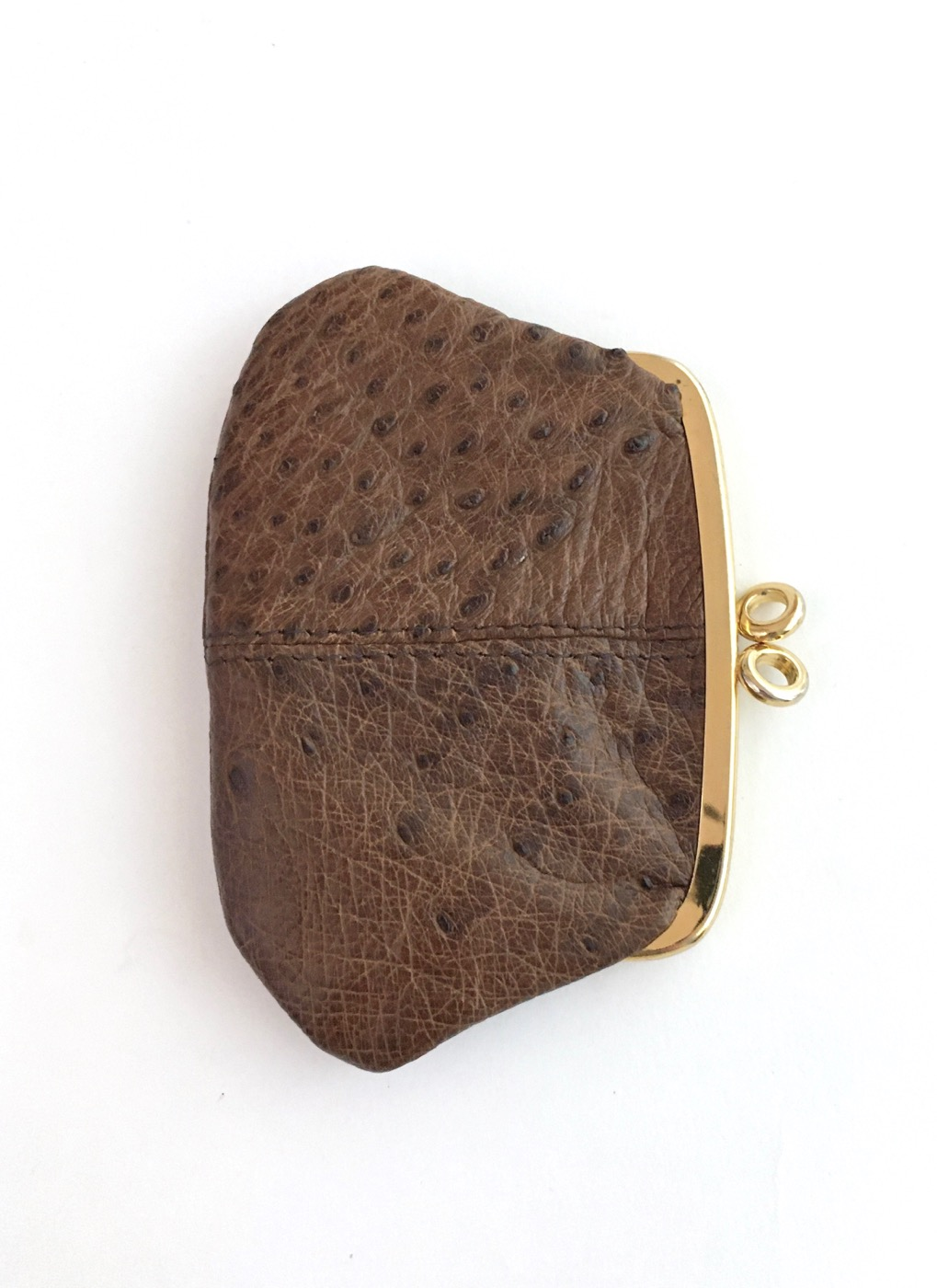 vintage-1950s-60s-brown-ostrich-leather-kiss-lock-coin-purse - 1