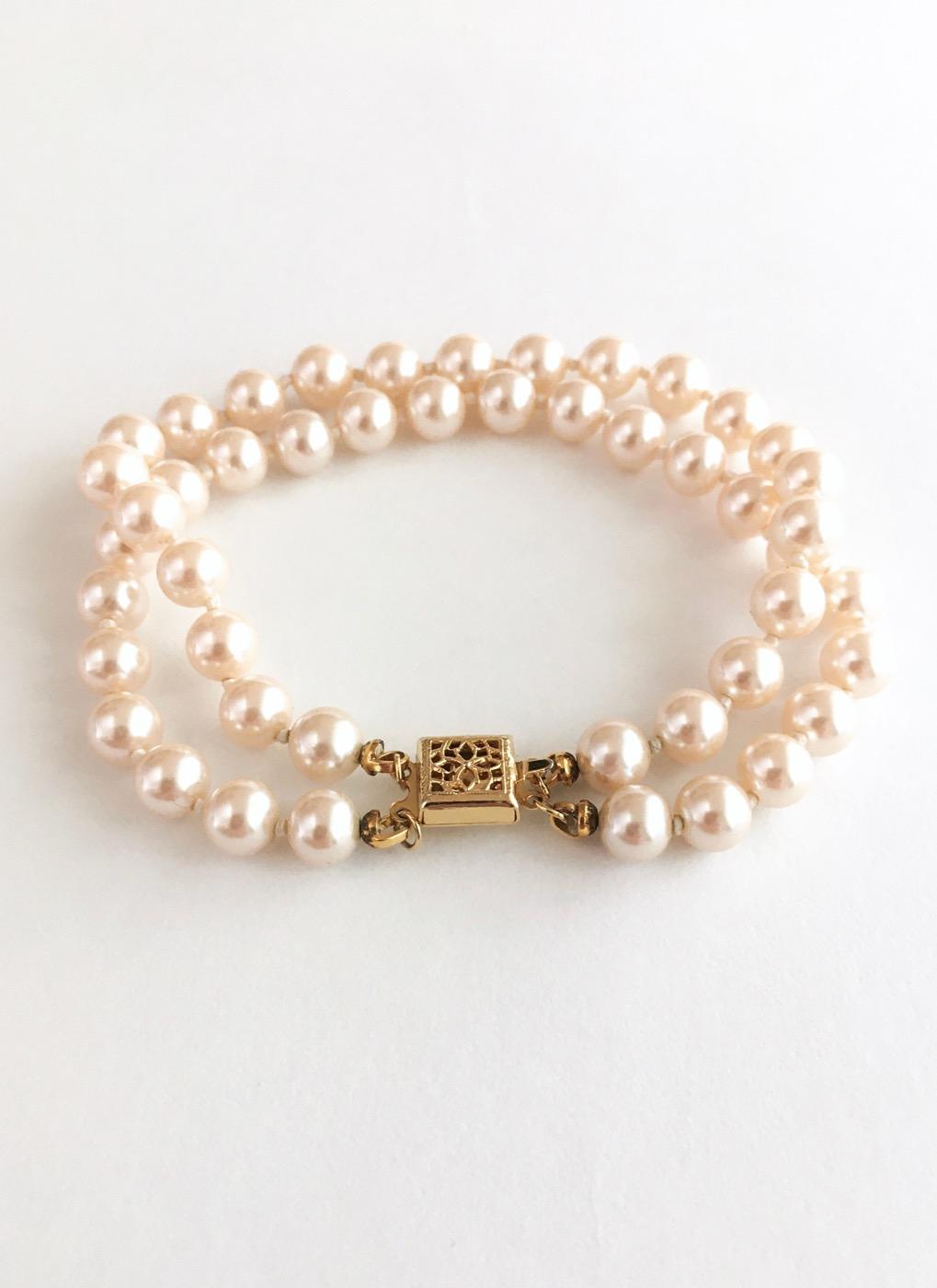 vintage-1950s-glass-faux-pearl-double-strand-bracelet - 1