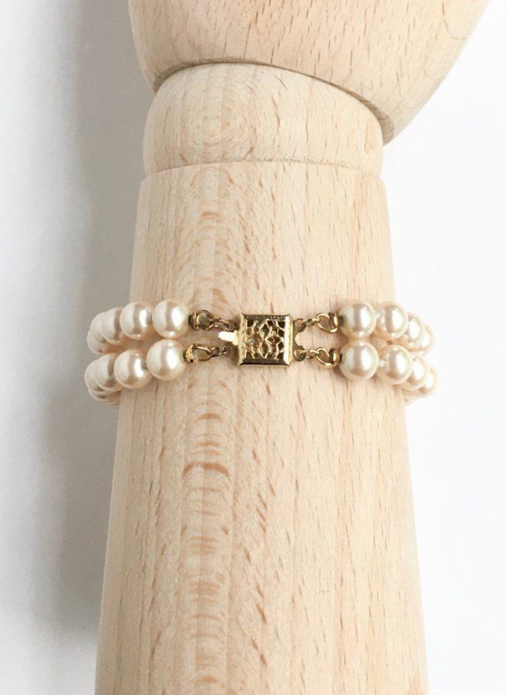 vintage glass faux pearl double strand bracelet