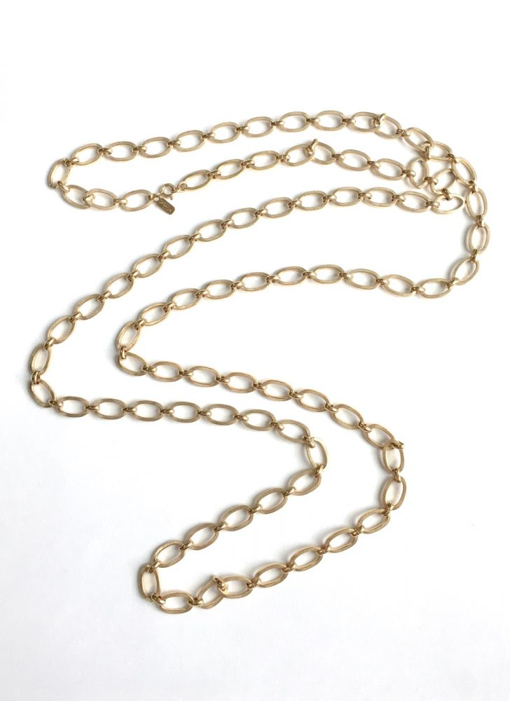 vintage Monet long chain link gold-tone necklace