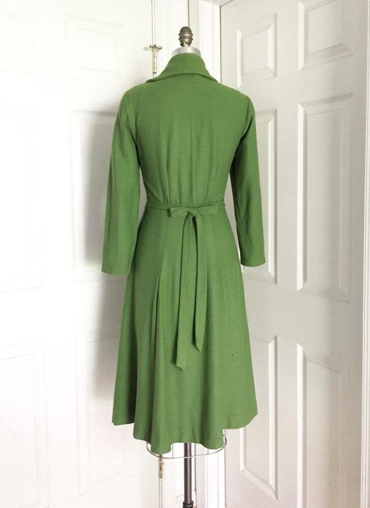 1930s 40s green wool dress Sport Nouvelle, Viennese Model