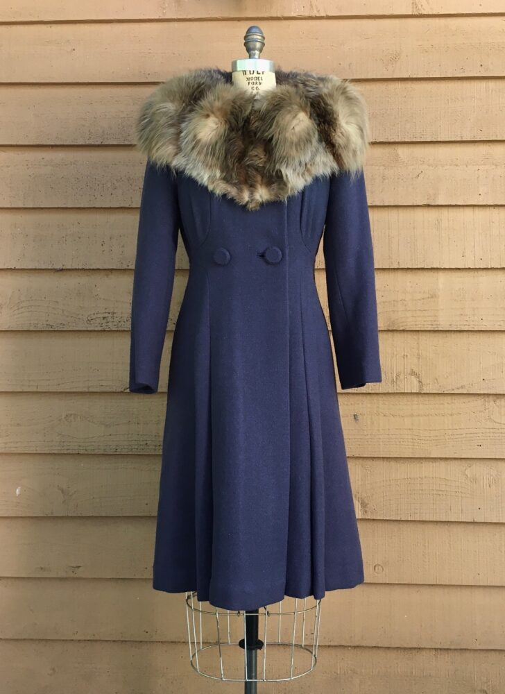 1930s 40s dark blue wool coat with a massive standup fur collar