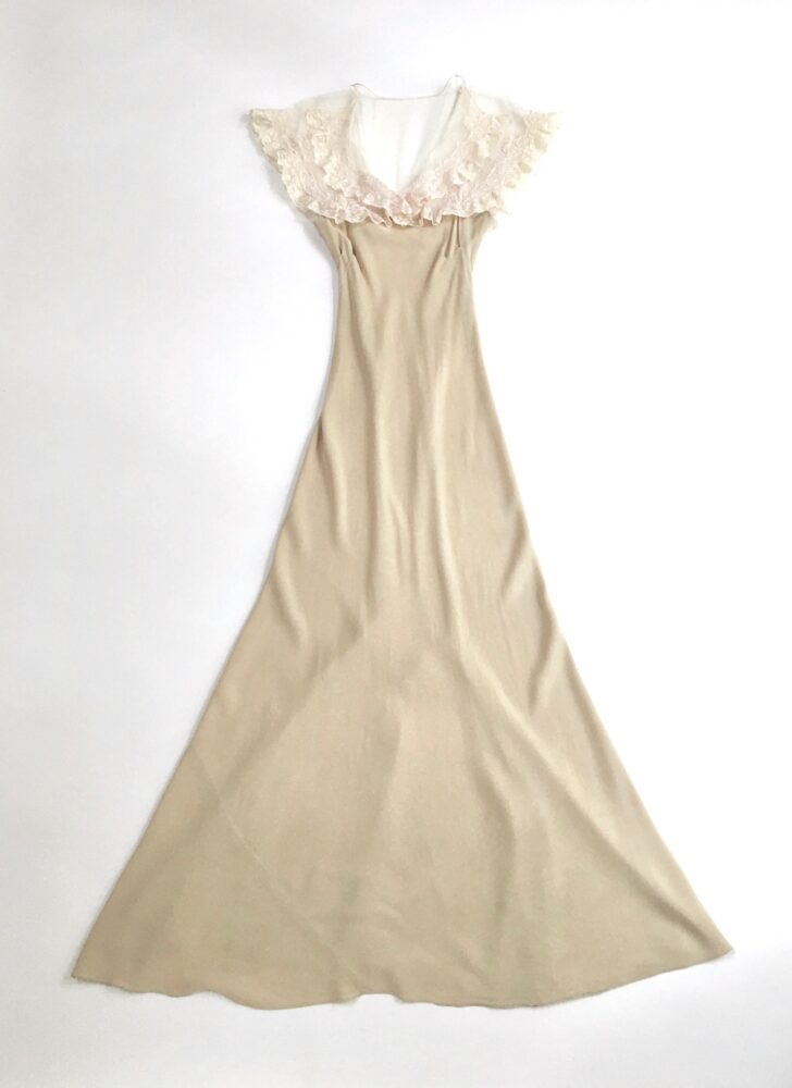 1930s beige crepe bias cut evening gown with sheer net and lace (repair)