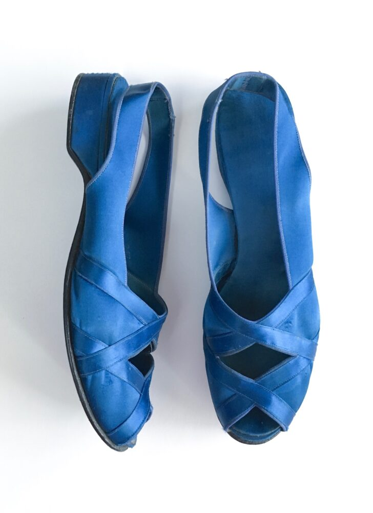 1940s 50s Daniel Green blue satin crisscross Honeymoon slippers