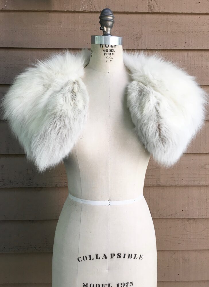 1940s 50s white fox shoulder wrap shrug