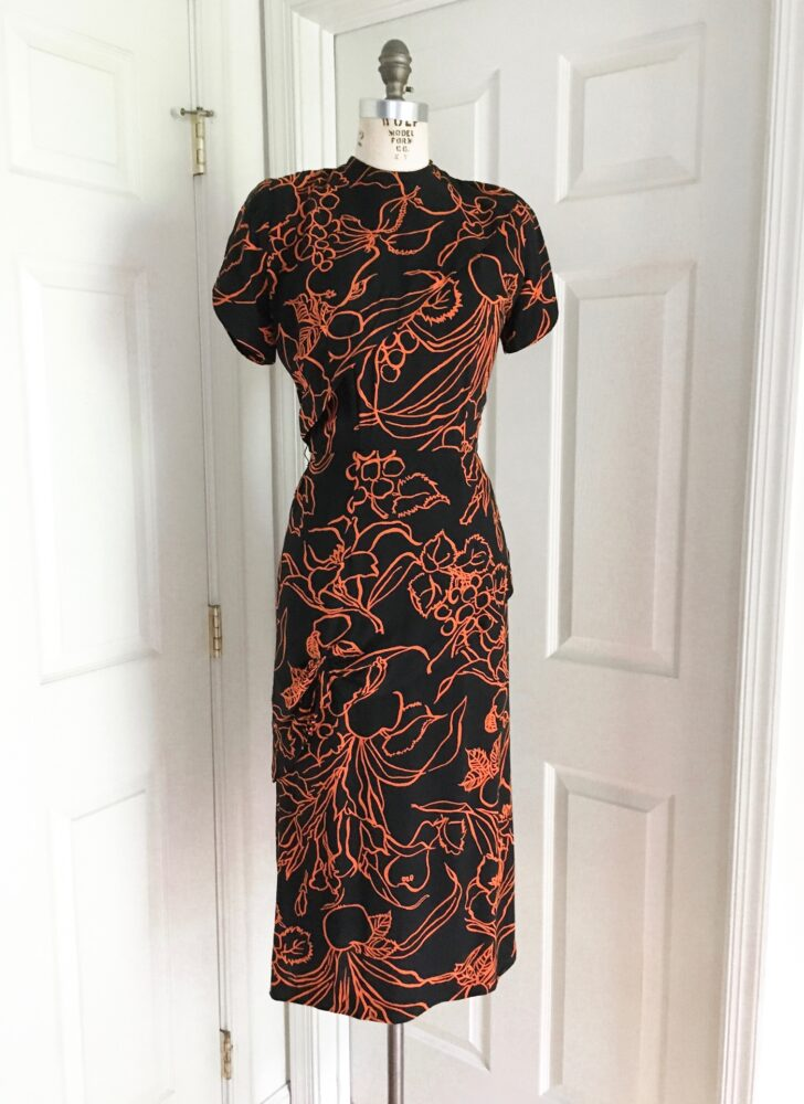1940s Nicholas Ungár orange + black burnout side swag rayon dress