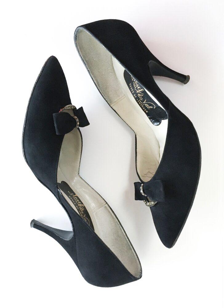 1950s 60s Josef du Val black suede + rhinestones heels shoes