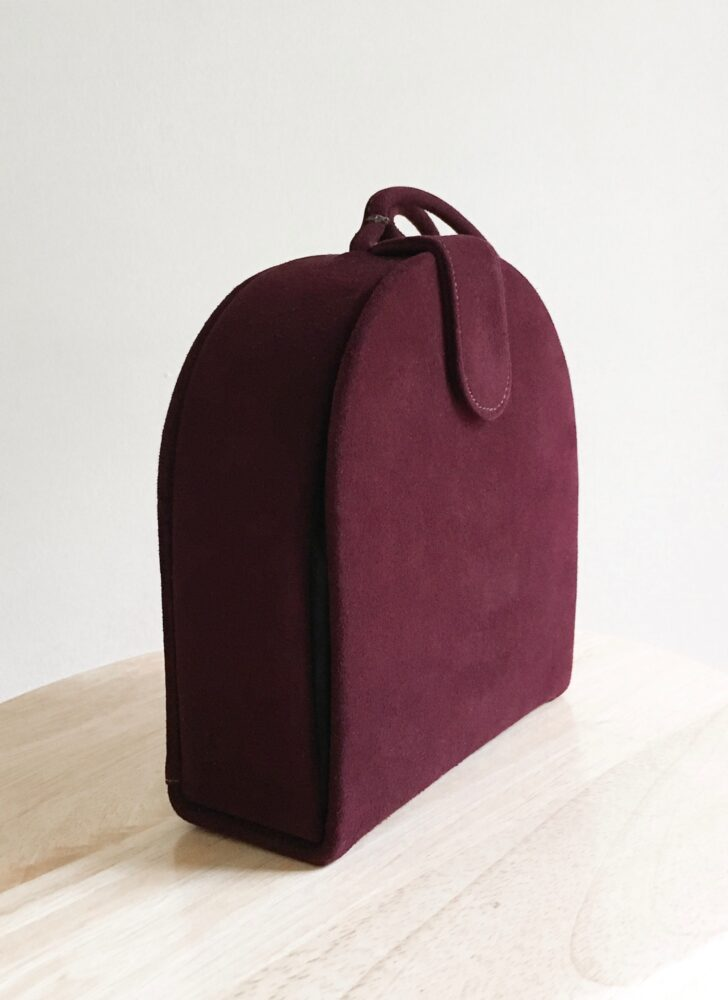 1950s burgundy suede box purse Mam'selle Original