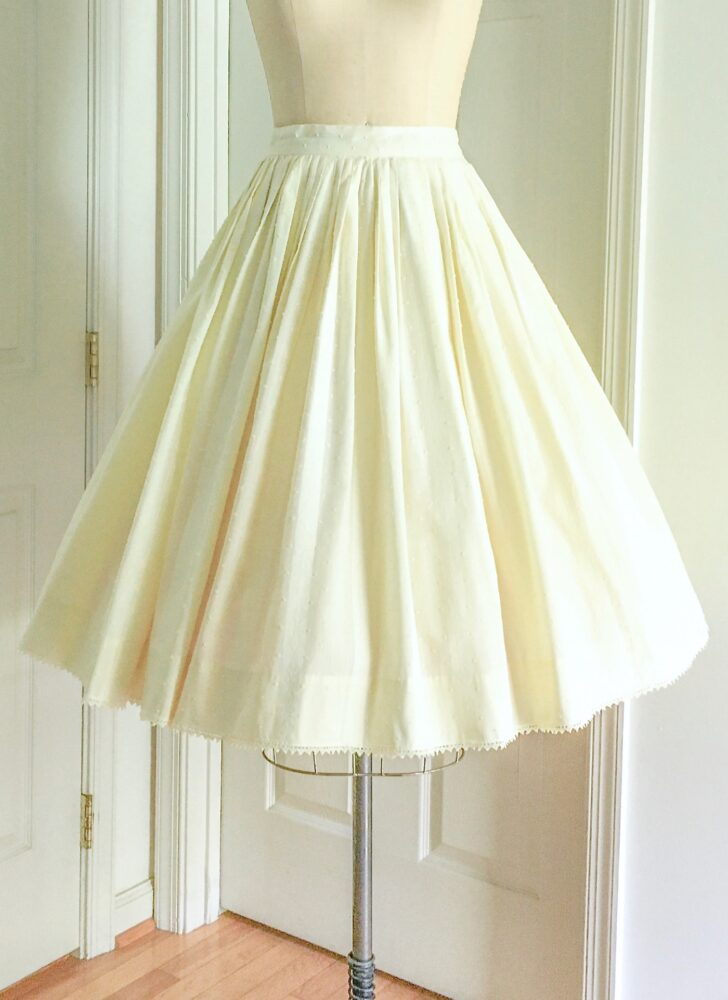1950s pleated yellow swiss dot striped cotton circle skirt Modern Jr