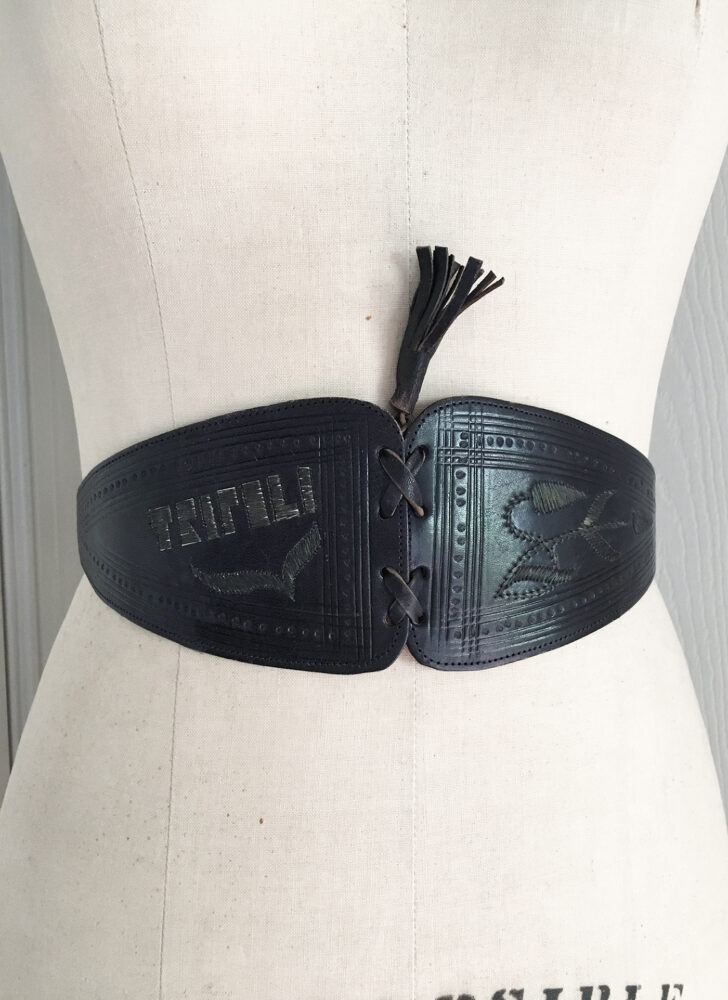 1940s 50s metallic thread Tripoli black leather corset belt