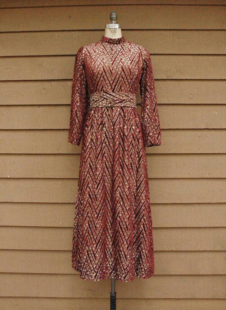 1960s 70s Razook's burnout burgundy velvet + gold rhinestone maxi dress
