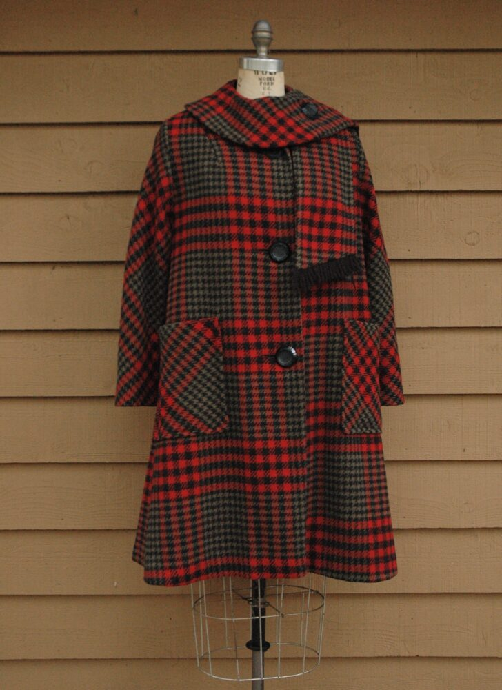 1960s red plaid wool coat with wrap fringed scarf collar