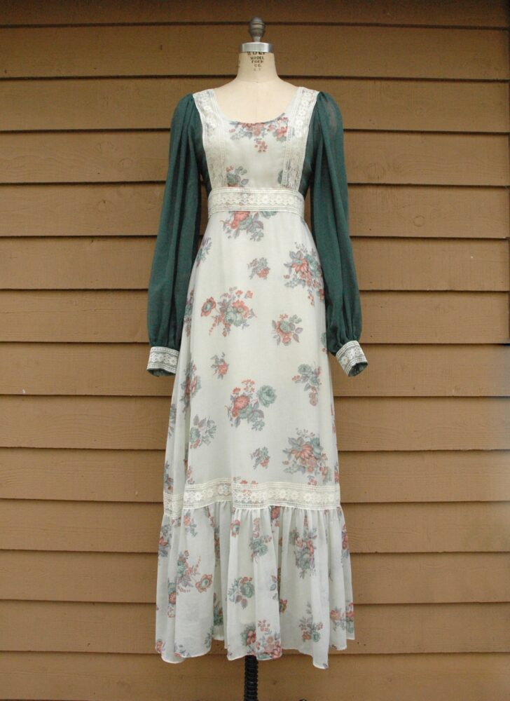1970s Fiona Dresses England green floral prairie maxi dress