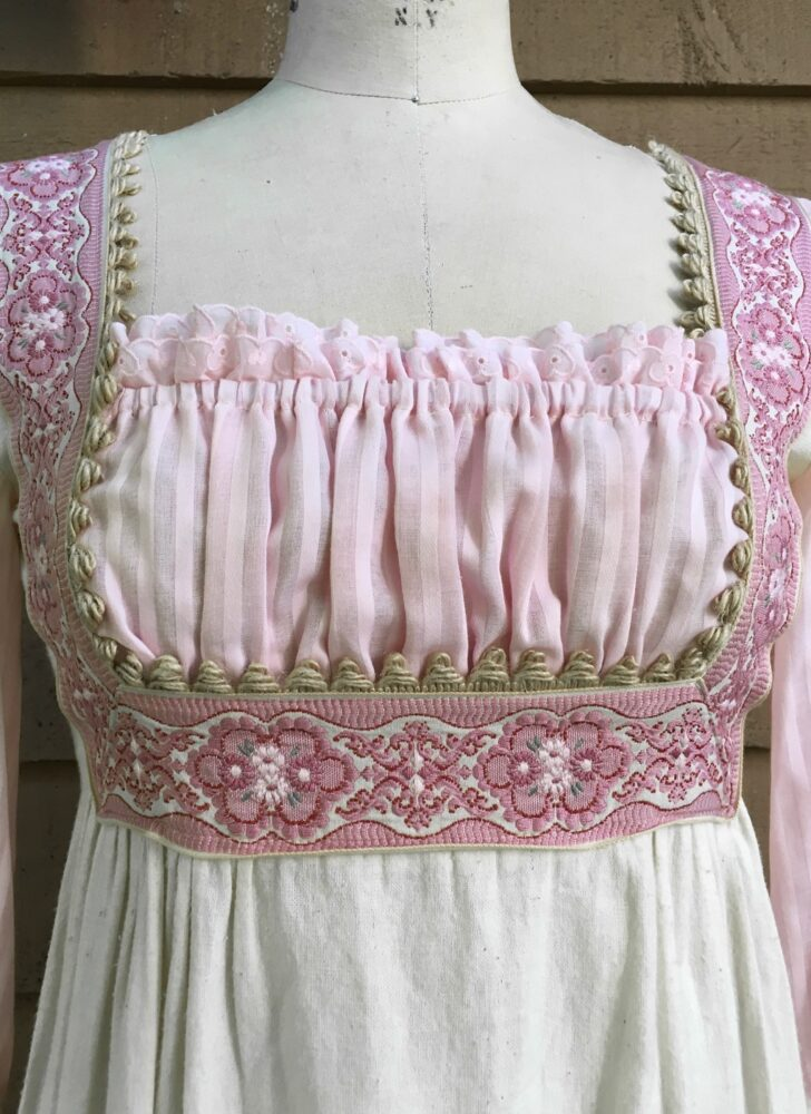 1970s Gunne Sax empire waist ecru and pink cotton jute trim Neiman Marcus